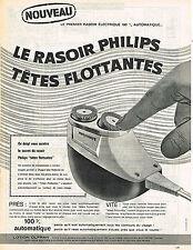 PUBLICITE ADVERTISING  1960   PHILIPS  rasoir 100% AUTOMATIQUE
