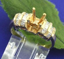 0.42ct 14k Solid Yellow Gold Ladies Semi mount Diamond Ring setting Princess cut