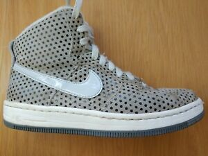 Nike Women's AF1 Ultra Force Mid Sneakers Pure Platinum Polka Dot Suede Sz 5.5