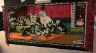 """Antique Victorian Velvet Tapestry Kitty Cats Fringe 45"""" x 20"""""""