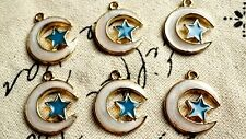 Moon and star gold 3 charms jewellery supplies C409