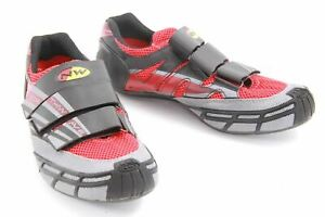USED Northwave Revolution Road Cycling Shoes EU 43.5 Red/Gray 10.75 US Men's