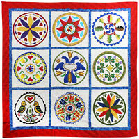 Amish styled Pensylvania Hex Hand Applique QUILT TOP Great work & Fabric