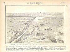 Campagne Egypte Combat de Magfar Canal de Suez Lac Timsah Ismailia GRAVURE 1882