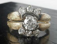 Vintage 14K Gold .70Ct Diamond Engagement Ring Wedding Band Wrap Set~Dsgnr GOMEZ