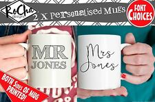 Personalised Gifts For Couples Mr and Mrs Mug Set, Anniversary, Wedding Gift