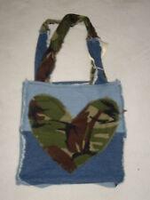 Love Hearts Shoulder Bag, Handmade Denim  Shopping Bag, Patchwork Bag For Life