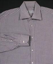 * BORRELLI * Napoli Brown/Navy/White Check Cotton Dress Shirt (41) 16-36