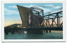Bascule Lift Bridge Green Bay Wisconsin 1930s postcard