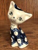 Vintage Boleslawiec Polish Pottery Sitting Cat Figurine