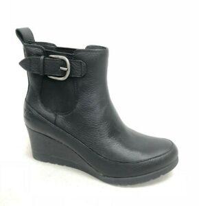 UGG Australia Women's Arleta Black Waterproof Leather Wedge Heel Boots 1106755