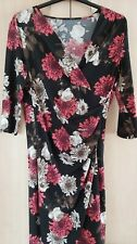 New Without Tags Ladies Black Floral 3/4 Sleeve Dress Size 18