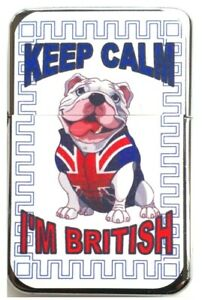 KEEP CALM I'M BRITISH Bulldog Union Jack  Petrol Lighter in black velvet pouch