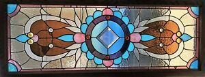 Antique c1880 American Aesthetic Movement Stained Glass Transom Window