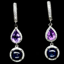 NATURAL 8 mm. 6RAYS STAR BLUE SAPPHIRE, AMETHYST & CZ 925 SILVER EARRINGS
