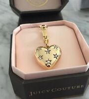 100% Authentic Juicy Couture Rhinestones Stars Gold Puffy Heart Charm New in Box