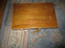 VERY OLD 1930'S UNIQUE ANTIQUE WOODEN SUITCASE  HANDMADE WITH VERY OLD KEY