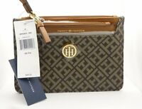 Tommy Hilfiger 6945052 202 Canvas Wristlet With Pouch Brown 2 in 1 FREE SHIPPING