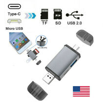 6-in-1 Type C USB Micro to SD TF Card Reader Adapter OTG Hub For Android Phone