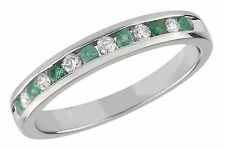 9 Carat Yellow Gold Emerald Eternity Fine Diamond Rings