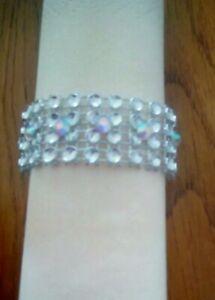 8 Silver Diamante mesh napkin rings with AB rhinestones for Wedding s,Christmas