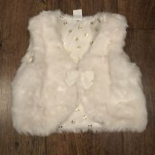 BABY GIRLS H&M EUR 92 CREAM FAUX FUR GILET WINTER/PARTY/TOWIE/CELEB/TODDLER/LOVE