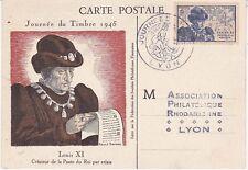Carte Postale maximum 1945 1er jour - Journée du timbre Louis XI Créa la Poste