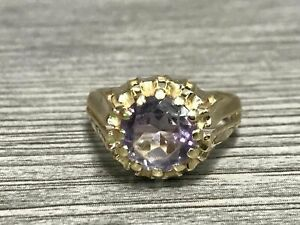 14K Yellow Gold Purple Round Faceted Gem Ring