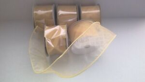 """5 Shimmery Sheer Patterned GOLD Wired Edge Ribbon (28627) 2.5""""x10 Yards NEW!"""