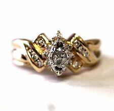 14k yellow gold diamond .39ct SI2-I2 H-I engagement ring wedding band 7.0g
