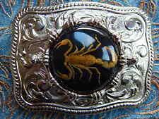 NEU Handarbeit Skorpion schwarz mit silber Metall Gürtelschnalle Western Goth