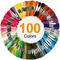 100 Skeins Embroidery Cross Stitch Threads Premium Multi-Color Handmade Craft US