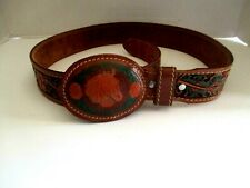 WESTERN LEATHER BELT. BELT FLORAL-ACORN  EMBOSSED