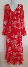 Womens Asos Red White Floral Frilly Thigh Splits Floaty Maxi Tea Dress 10 New.