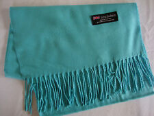 100% Cashmere Winter Scarf Scarve Scotland Warm Solid Light Blue Wrap Neck NEW