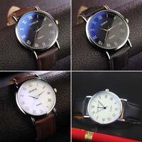 Fashion Men Analog Quartz Wristwatch Leather Band Strap Business Sports Watch