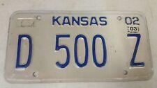 2003 KANSAS Dealer License Plate D 500 Z