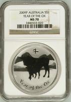 2009 1 oz NGC MS70 Silver Australian Year of the Ox Coin Bullion 70! Australia