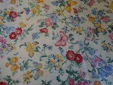PATCHWORK MATERIAL - 80cms x 115cms CREAM FLORAL & BUTTERFLY PRINT FABRIC
