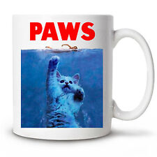 Coffee Mug PAWS Novelty Cup 11 oz gift funny cat jaws parody