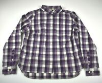 Duluth Trading Co. Women's S Purple Checkered Collar Long Sleeve Button Up Shirt