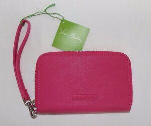 VERA BRADLEY SAFFIANO Zip Around Faux Leather FUCHSIA PINK Wallet Wristlet - NEW