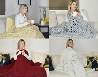 GOLD TEXTILES Chunky Knit Blanket Warm Soft Cozy Sofa & Bed Handmade Knitted