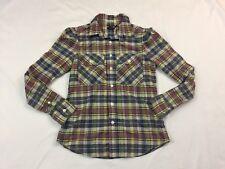 Ralph Lauren Rugby Slim Fit Green Plaid Top Shirt size 2 Western Women's S585