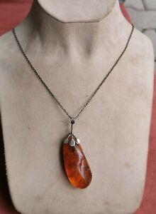Vintage Soviet Necklace Pendant with Natural Huge Baltic Amber Melchior