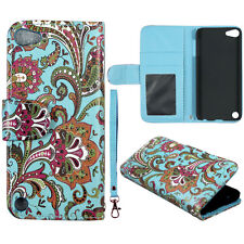 Teal Paisley  Wallet Leather Flip Pouch Ipod for Apple Touch 5 5th  Case Cover