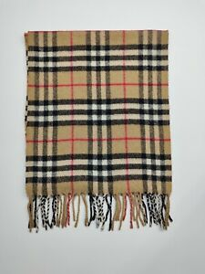 Burberry genuine Vintage 100% Lambswool Nova check Camel winter Scarves Scarf