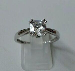 QVC Diamonique 2ct Cushion Cut Secret Set Solitaire Ring Sterling Silver Size T
