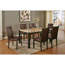 Modern Casual Dark Walnut Finish Aegean Brown Marble Top Dining Table Set 7pc