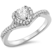 Sterling Silver .925 CZ Women's Infinity Heart Halo Fashion Promise Ring 5-10